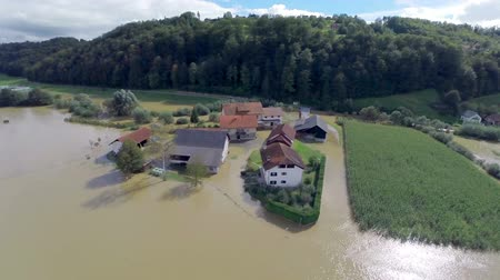 elpusztított : Heavy flooding natural disaster aerial flight. Severe rain flood after wild rainstorm, natural disaster.