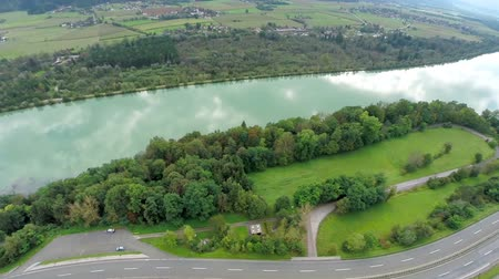 otoyol : Aerial shoot of a lake and motorway bridge. Aerial shoot of a lake and motorway bride for traffic near Klagenfurt, Austria, Europe