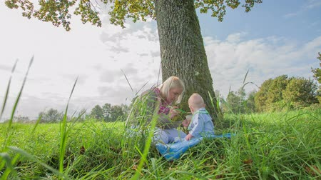 just born : Mother feeding newborn child in SLOW MOV. Slow motion RAW shoot of a mother who is feeding a just born child and sitting on the lawn under the big tree on beautiful day. Stock Footage