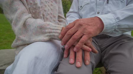 Close-up of elderly couple joins hands. Close-up slow motion footage of how an elderly couple joins their hands together outdoors on a branch in he countryside.