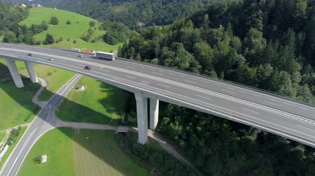 otoyol : Big bridge of a highway in a nataure. Aerial shoot of a big bridge of highway road in a nature with traffic of cars and trucks