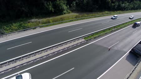 грузовик : Aerial shoot of traffic on a highway. Aerial shoot of a highway and cars and trucks passing by in a valley