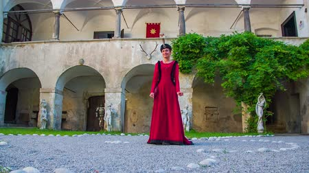 kuşatma : Turkish sultans wife awaiting her husband. On this raw footages sultans wife standing in the garden waiting her man to come home with beautiful background. Stok Video