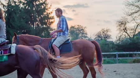 koňmo : Middle age couple on a horseback riding with sunset in the back . Slow motion RAW footage of a beautiful middle age couple on a horseback ride with sunset in the background. Dostupné videozáznamy