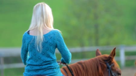 koňmo : Young woman learning to ride the horse . Close up RAW footage of a young beautiful woman learning how to ride the horse on the ranch on countryside. Dostupné videozáznamy