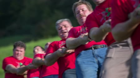 trabalhar fora : SENTJUR, SLOVENIA - OCTOBER 2014: Tug war team in the midle of the war. Close up footage of a tug war team in the middle of the war on the country side on the grass on the sunny day.