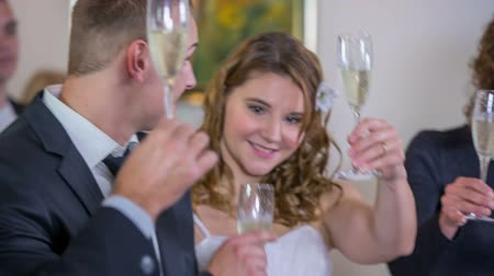 lasting : Toast in the name of good and romantic married . Close up of a just married couple toasting on the long lasting married with bast man and made of honer. Stock Footage