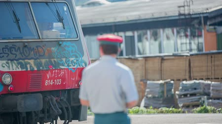 desistir : Train conductor waiting to let the train to go. RAW footage of a conductor standing on the station and waiting the passengers to get on the train on a sunny day. Vídeos