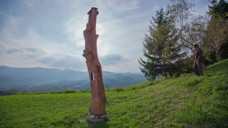 polowanie : Hunter walking towards the wooden statue. Slow motion total RAW footage of a elderly hunter walking toward the wooden statue on a sunny day.