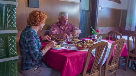 cracknel : Old couple is enjoying their meal in a restaurant. Wide-angle shot. The restaurant is decorated in a traditional way. We can also see the farmhouse stove in the video.