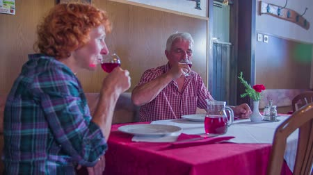 cracknel : An older couple is toasting with red wine in a restaurant where they serve traditional food.  Wide-angle shot from the back. Stock Footage