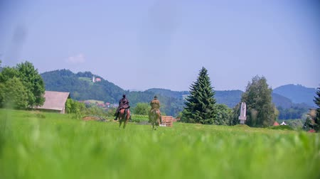 friesian : Two people riding horses on a beautiful landscape on the nice countryside which is still natural.