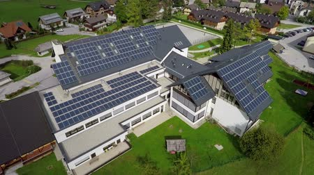 sluneční : This is air view on part f roof where is solar panels which is on a beautiful location in the middle of nature which is placed in a beautiful environment on countryside.