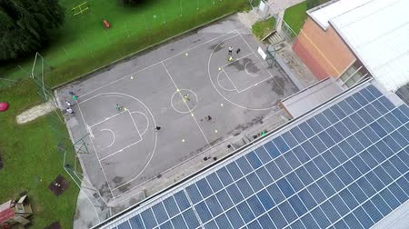 panel buildings : This is air view on solar panels which is standing on a beautiful location in the middle of nature which is placed in a beautiful environment on countryside. Stock Footage