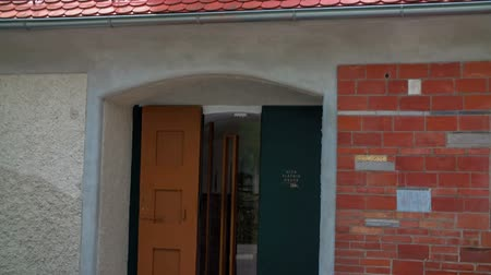 local de nascimento : This is the entrance to Plecniks birth house. This is the place where one of the most famous Slovenian architects was born. Close-up shot. Stock Footage