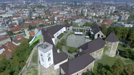 ljubljana : Mystery medieval castle on the top of the hill with remarkable view at the capital city of Slovenia, Ljubljana.