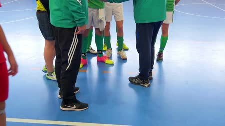 gymnasium : Two coaches are having a short break with their team during a soccer match. Stock Footage