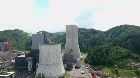 fuel and power generation : Thermoelectric plant in Sostanj, Velenje connected with nearby coal mine that is significant for producing electricity. Stock Footage