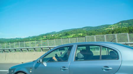 ljubljana : Observing beautiful and green nature when driving on a highway in the middle of Slovenia. Its summer time.