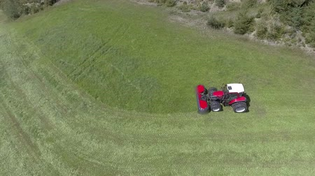 grabie : A red tractor is driving across the meadow. Its time to prepare hay for the animals. Aerial shot. Wideo