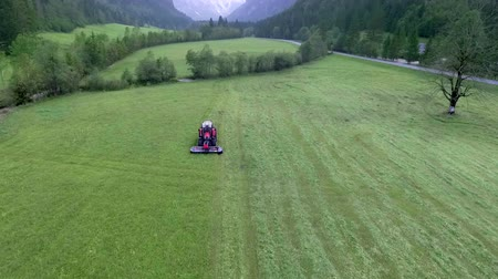 熊手 : Farmers are working dilligently in the summer time. They need to prepare hay. The tractor is driving across a big grass field and its cutting grass with the agricultural machinery. 動画素材