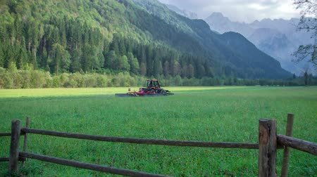 széna : Tractor is driving on the big grass field and it is cutting grass with the machinery in a nice valley. The day is beautiful. Stock mozgókép
