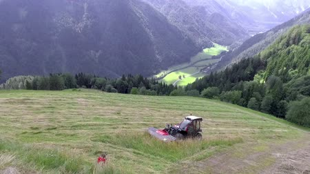 bales : A red tractor is driving uphill and is cutting grass with a special machinery. Then the farmers will wait for a few days before starting to prepare hay. Stock Footage