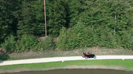 есть : A vintage car is driving on a path by the lake. There is a big forest in the background. Aerial shot. Стоковые видеозаписи