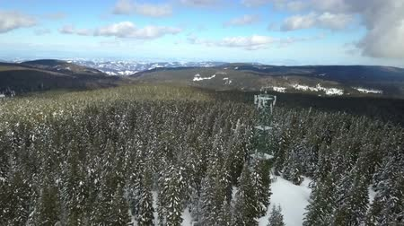 śnieżka : A big ski resort and slopes are covered with spruce trees. Aerial shot. Is winter time. Wideo