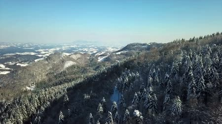 еще : Its winter time and there is a lot of snow in the forests. Aerial shot. The day is sunny yet cold.