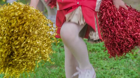 pom : Girls start walking and their routine begins. Theyre holding red and yellow pom-poms. Stock Footage