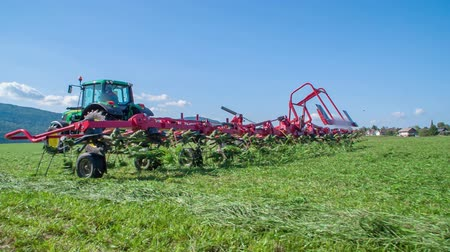 mezőgazdasági : Rotary rakes are moving grass which is flying around. The grass needs to be dry on all sides. The day is sunny and beautiful.