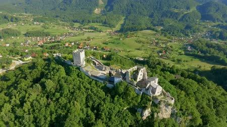 fortificação : A forest is surrounding a castle on a hill. Aerial shot. It is summer time.