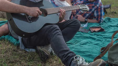 furgone : Five friends are sitting on a blanket and are siging and one of them is plaing a guitar.
