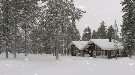 fülke : Beautiful snow-covered log cabin in a forest