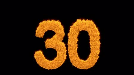 otuzlu yıllar : Golden number 30 with fiery flames Stok Video