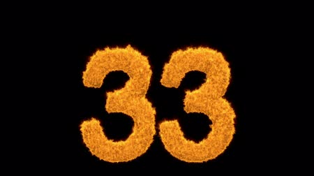 otuzlu yıllar : Number 33 burning with fiery orange flames