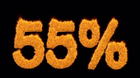 e ticaret : 55 or fifty-five percent written with fire fonts