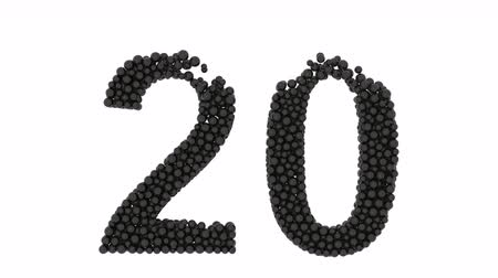 aritmetický : The number 20 FORMED of closely packed black balls