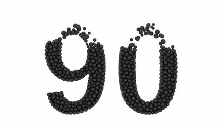 aritmética : Number 90, ninety, made of densely packed balls