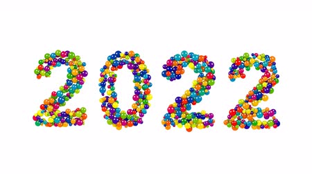 2022 New Years date design of colorful spheres