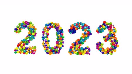 yıllık : 2023 colorful New Year date design with spheres