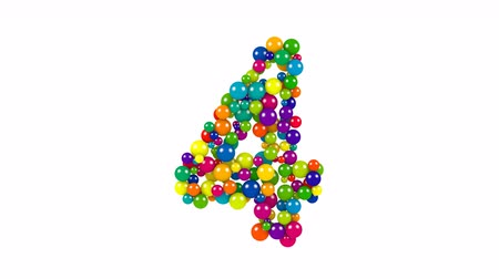 Various sized green, red, blue and yellow balls in the shape of the number four over white background