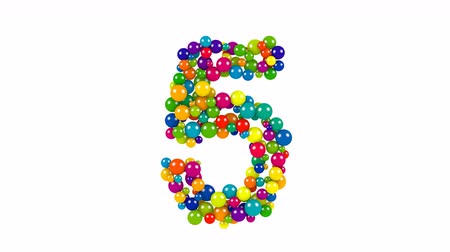 Various sized green, red, blue and yellow balls in the shape of the number five over white background