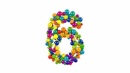 Various sized green, red, blue and yellow balls in the shape of the number six over white background Vídeos
