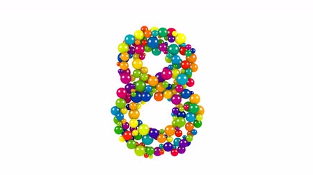 Various sized green, red, blue and yellow balls in the shape of number eight over white background Vídeos