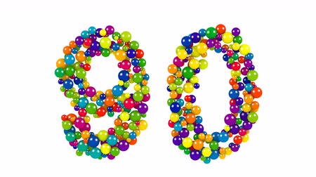 Number 90 as colorful balls over white