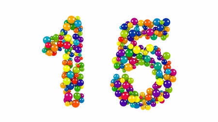 Colored balls in the shape of number fifteen