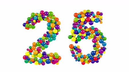 Colored balls in the shape of number twenty five