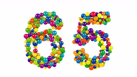 Number 65 as colorful balls over white